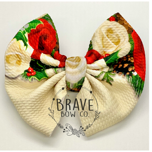 Copy of Christmas Floral Drip Cream Hair Bow - Clip or Nylon