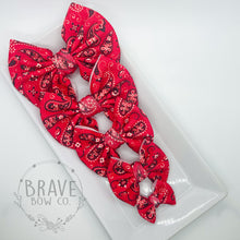Load image into Gallery viewer, Red Paisley Hair Bow - Clip or Nylon