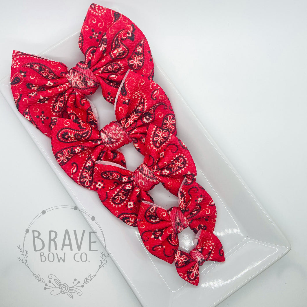 Red Paisley Hair Bow - Clip or Nylon