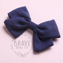 Load image into Gallery viewer, Sailor Linen Schoolgirl Cotton Hair Bow on Clip 3""