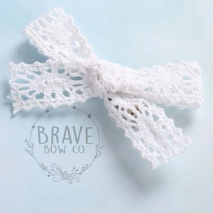 Lace Sailor Linen Schoolgirl Cotton Hair Bow on Clip 3.5""