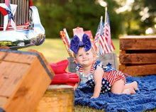 Load image into Gallery viewer, Fourth of July Blue Glitter Hair Bow - Clip or Nylon