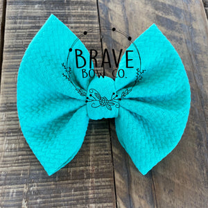 Aquamarine Solid Color Hair Bow or Headband