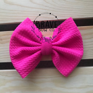 Hot Pink Solid Color Hair Bow or Headband