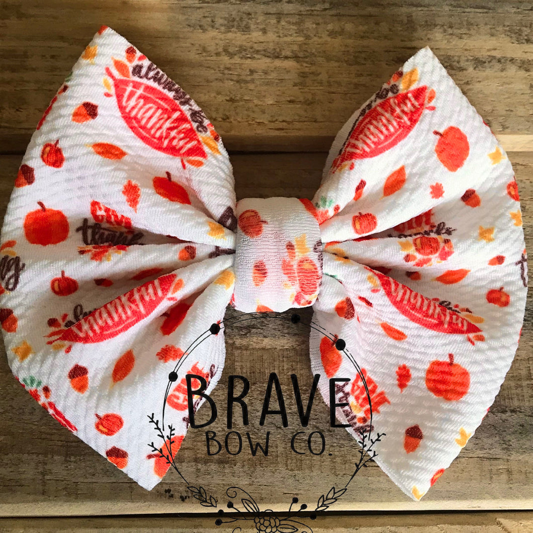 Be Thankful Thanksgiving Hair Bow - Clip or Nylon