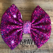 Load image into Gallery viewer, Purple Glitter Hair Bow - Clip or Nylon
