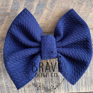 Navy Blue Solid Color Hair Bow or Hair Band