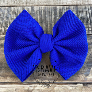 Royal Blue Solid Hair Bow - Clip or Nylon