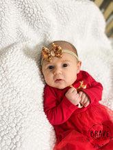 Load image into Gallery viewer, Christmas Gold Glitter Hair Bow - Clip or Nylon