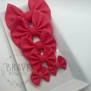 Coral Pink Hair Bow - Clip or Nylon