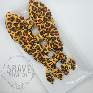 Cheetah Brown Hair Bow - Clip or Nylon