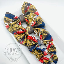 Load image into Gallery viewer, Rodeo Brushstrokes Cow Denim and Paisley Hair Bow - Clip or Nylon