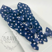 Load image into Gallery viewer, Navy with White Stars Hair Bow - Clip or Nylon