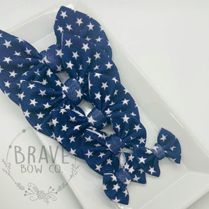 Navy with White Stars Hair Bow - Clip or Nylon