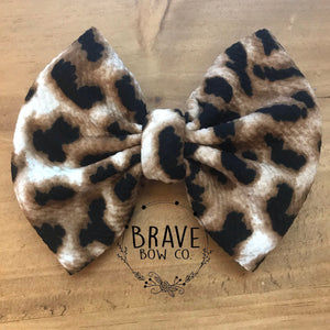 Leopard Hair Bow - Clip or Nylon