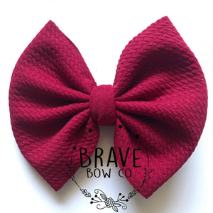 Maroon Solid Color Hair Bow or Hair Band