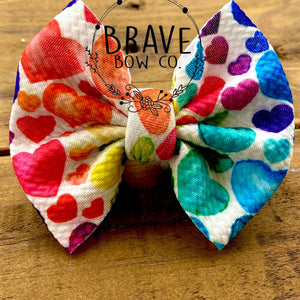 Watercolor Rainbow Hearts Hair Bow - Clip or Nylon