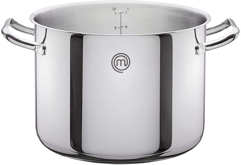 MasterChef Stainless Steel Cookware 24cm Stock Pot with Lid, 7.8L