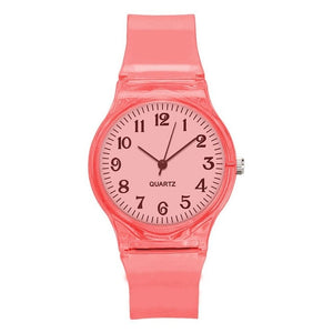 Transparent Candy Color Plastic wrist Band watch
