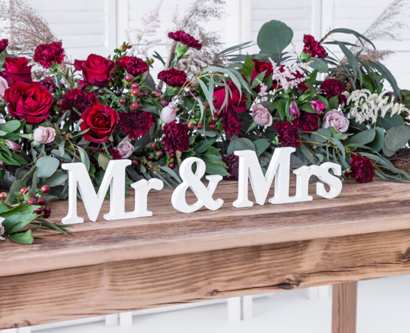 White Mr & Mrs Wooden Sign - properconfetti.myshopify.com