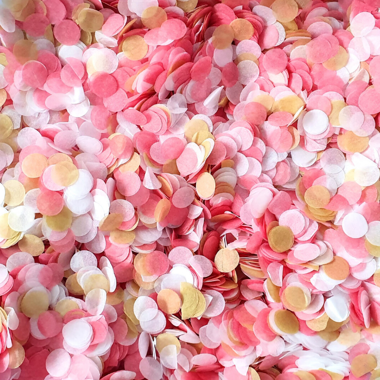 Dusky Pink & Gold Confetti Circles