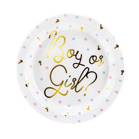 Gender Reveal Party Plates - Proper Confetti