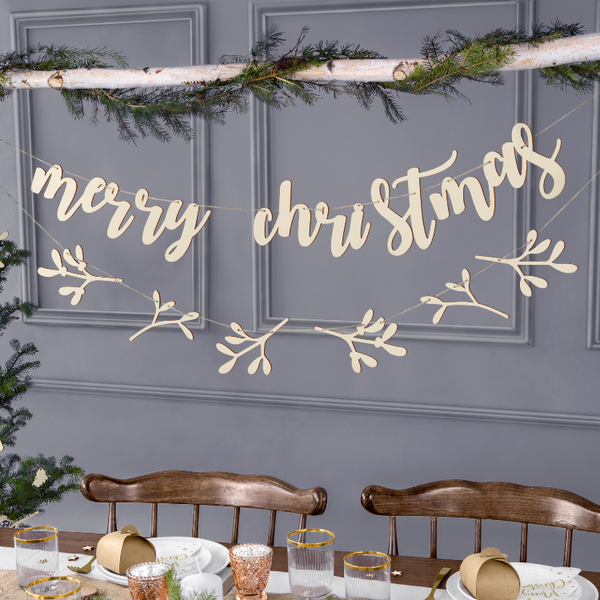 Wooden Christmas Bunting for Hanging