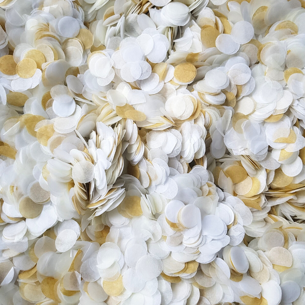 Modern Gold, Ivory & White Confetti Circles
