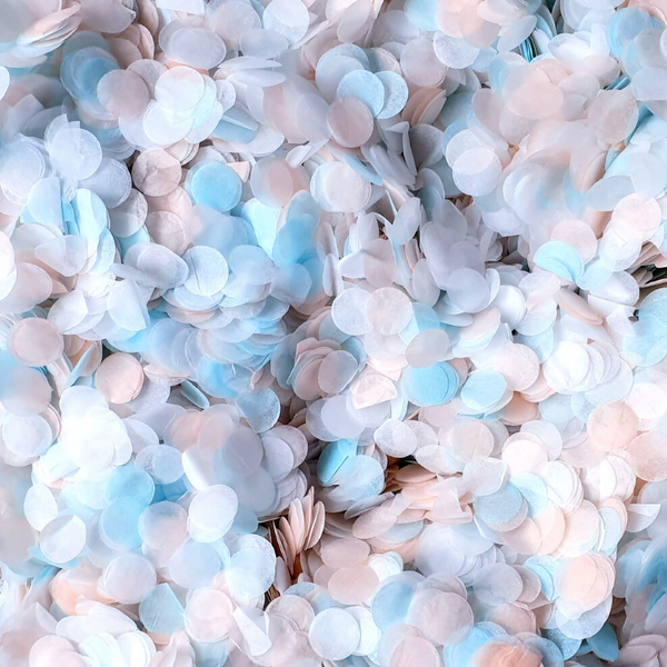 Peach, Blue and White Confetti Circles - Biodegradable Confetti by Proper Confetti