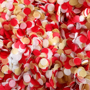 Red, Gold & White Confetti Circles