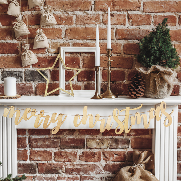 Wooden Christmas Bunting for Fireplace Decorations