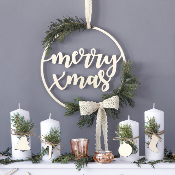 Merry Xmas Wooden Hanging Decoration