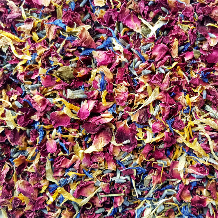 Rainbow Dried Rose Petal Confetti