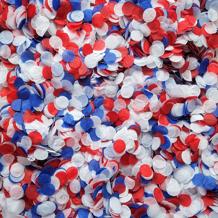 Navy Blue, Red & White Confetti Circles