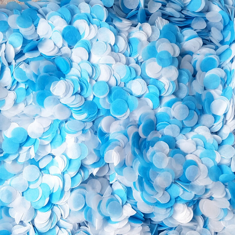 White & Blue Confetti Circles - Biodegradable Confetti by Proper Confetti