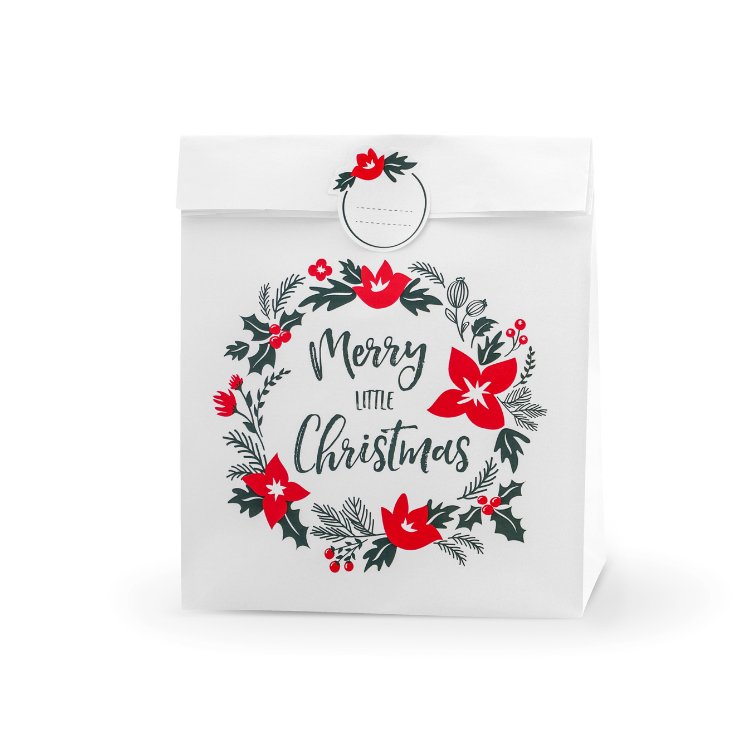 White Eco Merry Christmas Gift Bag