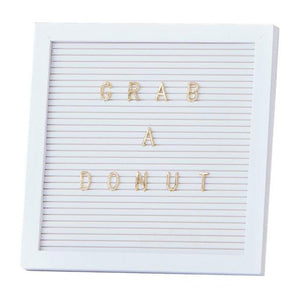 White Letter Board with Gold Letters | Proper Confetti