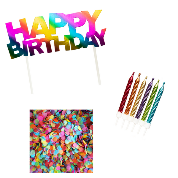 Rainbow Birthday Cake Topper Kit