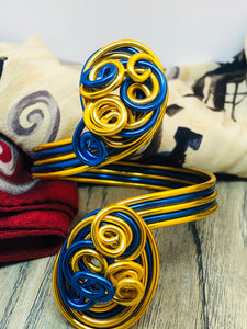 Gold and Blue Cuff Bracelets