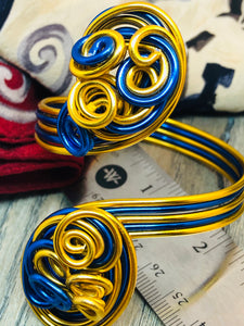 Blue and Gold Cuff Bracelets