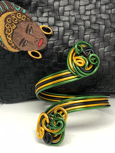 Jamaican Cuff Bracelet in Black Green and Gold
