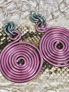 Round Pink & Grey Aluminum Earrings, Medium Circle Disk, sterling silver ear wire
