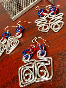 Small Square Silver Earrings with Red and Blue accents, Great for 4th of July