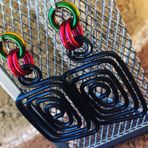 Square Wakanda Inspired Earrings, Afrocentric Earrings, Black Red Green and Gold Earrings