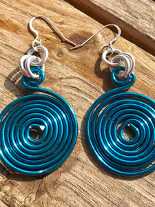 Round Turquoise Earrings, light weight aluminum wire with sterling silver ear wire