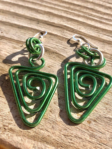 Triangle Shapes Green Aluminum Wire Earrings with Sterling Silver Ear Wire