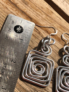 Square Aluminum Earrings in silver, with sterling silver earwire
