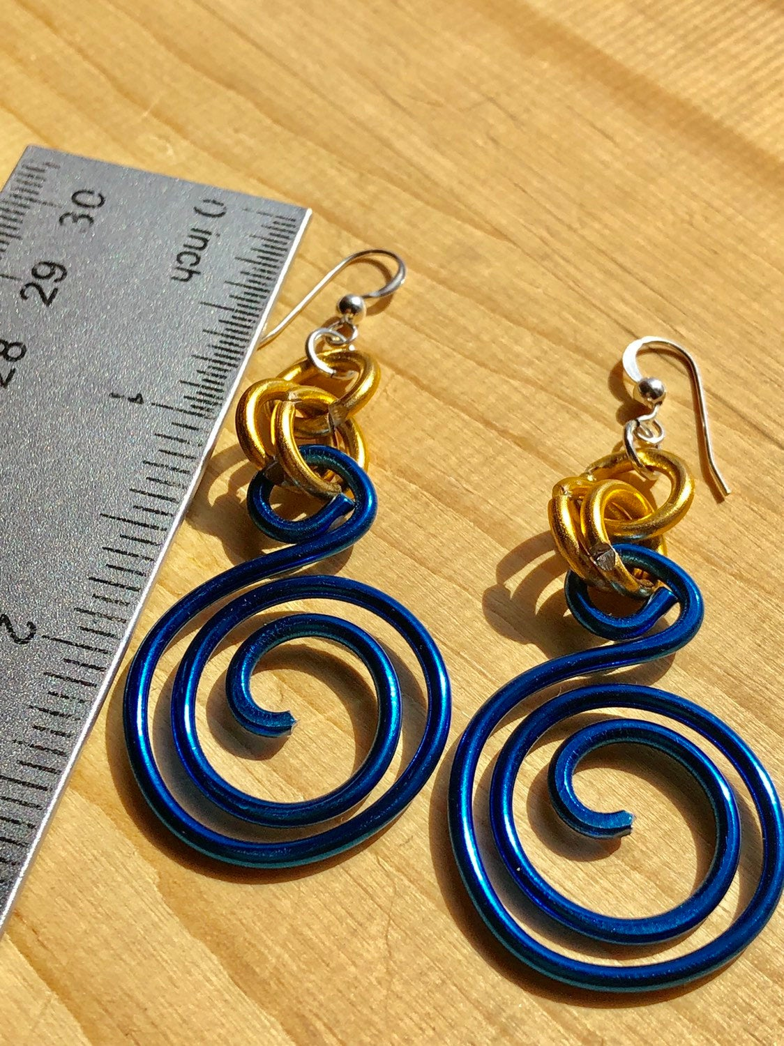 Small Round Blue and Gold Circle Aluminum Wire Earrings with sterling silver ear wire