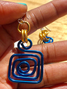 Small Square Blue and Gold Circle Aluminum Wire Earrings with sterling silver ear wire