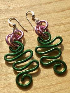 Small Pink and Green Wire Earrings with sterling silver ear wire